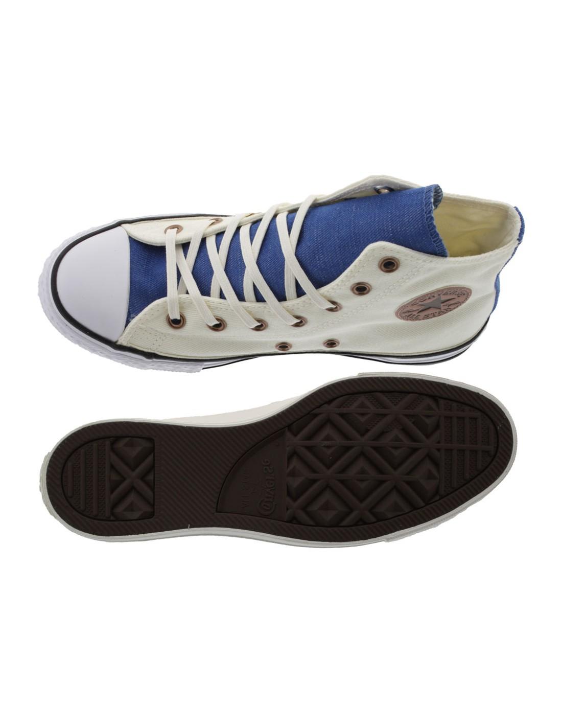 Scarpe Converse All Star Hi bambino beige e blu