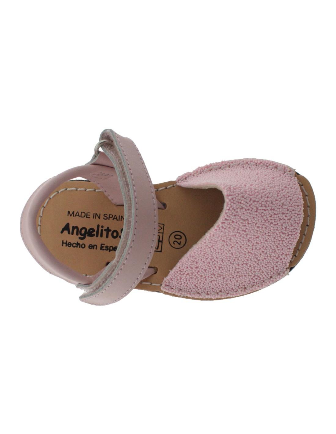 Minorchine bambina Angelitos 210 micro perle rosa con strappo in pelle sandali